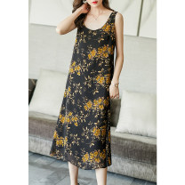 Dress Summer 2021 Decor S M L XL XXL XXXL Mid length dress singleton  Sleeveless commute V-neck Loose waist Decor Socket A-line skirt routine camisole 35-39 years old Type A Ajido lady printing A96589 More than 95% other Other 100% Pure e-commerce (online only)