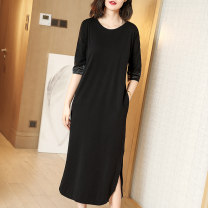 Dress Spring 2020 black S M L XL XXL XXXL Mid length dress singleton  three quarter sleeve commute Crew neck Loose waist Solid color Socket other routine Others 35-39 years old Type H Ajido lady Pocket stitching A90093 More than 95% brocade cotton Cotton 95% polyurethane elastic fiber (spandex) 5%