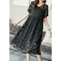Dress Summer 2021 black S M L XL XXL XXXL longuette singleton  Short sleeve commute Crew neck Loose waist Dot Socket A-line skirt routine 35-39 years old Type A Ajido Korean version printing A96355 More than 95% other Other 100% Pure e-commerce (online only)