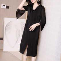 Dress Summer 2020 black S M L XL XXL XXXL Mid length dress singleton  three quarter sleeve commute V-neck middle-waisted Solid color Socket other routine Others 35-39 years old Type H Ajido lady Pleated zipper More than 95% other polyester fiber Polyester 100% Exclusive payment of tmall