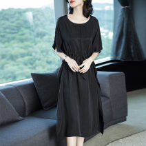 Dress Summer 2020 black S M L XL XXL XXXL Mid length dress singleton  elbow sleeve commute Crew neck Elastic waist Solid color Socket A-line skirt Sleeve Others 35-39 years old Type A Ajido lady Frenulum 1126A More than 95% other other Other 100% Exclusive payment of tmall