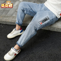 trousers Bear after bear male 110cm 120cm 130cm 140cm 150cm 160cm Denim blue spring and autumn trousers Korean version There are models in the real shooting Jeans Leather belt middle-waisted Don't open the crotch Cotton 92% polyester 6% polyurethane elastic fiber (spandex) 2% D21A1689 Class B