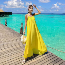 Dress Summer 2021 Lemon yellow S,M,L longuette singleton  Sleeveless commute V-neck Loose waist Solid color Socket Big swing other camisole Type X Other / other Simplicity backless Summer vacation with yellow big backless suspender skirt 31% (inclusive) - 50% (inclusive) Chiffon