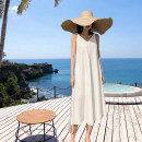 Dress Autumn of 2019 Off white XS,S,M,L longuette singleton  Sleeveless commute V-neck High waist Solid color Socket Big swing other camisole Type H Other / other Simplicity Mid length dress with suspender 81% (inclusive) - 90% (inclusive) other