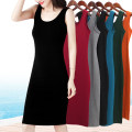 Dress Summer of 2019 S M L XL 2XL 3XL Mid length dress singleton  Sleeveless commute Crew neck middle-waisted Solid color Socket One pace skirt routine camisole 25-29 years old Type H Han Fulian Korean version L919 91% (inclusive) - 95% (inclusive) knitting cotton Pure e-commerce (online only)