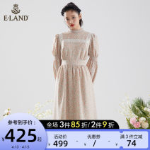 Dress Spring 2021 Pink (25) pink 155/XS 160/S 165/M 170/L Mid length dress singleton  Long sleeves Sweet Half high collar Broken flowers zipper puff sleeve 25-29 years old E·LAND fold EEOWB12W4M More than 95% polyester fiber Polyester 100% Ruili Same model in shopping mall (sold online and offline)