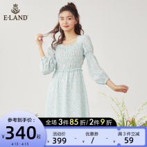 Dress Spring 2021 Navy (59) Navy mint (84) MINT 155/XS 160/S 165/M 170/L Mid length dress singleton  Nine point sleeve Sweet square neck Decor puff sleeve 25-29 years old E·LAND fold EEOWB6301I More than 95% polyester fiber Polyester 100% Ruili Same model in shopping mall (sold online and offline)
