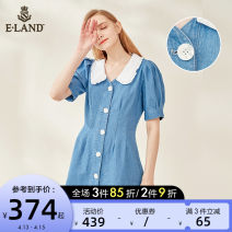 Dress Summer 2020 155/XS 160/S 165/M 170/L Mid length dress singleton  Short sleeve commute Doll Collar Solid color Single breasted puff sleeve 25-29 years old E·LAND More than 95% cotton Cotton 100% Same model in shopping mall (sold online and offline)