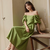 Dress Summer 2020 green S M L longuette singleton  Short sleeve commute square neck High waist Solid color Socket A-line skirt puff sleeve 18-24 years old Type A Nobiaor / nobion Frenulum N-q73 moss mark More than 95% other Other 100% Pure e-commerce (online only)