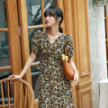Dress Summer 2020 Floral skirt M L longuette singleton  Short sleeve commute V-neck High waist Broken flowers Socket A-line skirt routine 25-29 years old Nobiaor / nobion printing N-20Q101 More than 95% polyester fiber Polyester 100%
