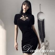 Dress Spring 2020 black S,L,M Short skirt singleton  Short sleeve street Crew neck High waist Solid color A button Pencil skirt routine 18-24 years old Splicing, hollowing out 81% (inclusive) - 90% (inclusive) other polyester fiber
