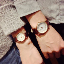 Wristwatch Ulzzang Shop warranty quartz movement  Lovers Watch Leatherwear domestic 3ATM alloy Ordinary glass mirror 8mm JS201611G19 circular Retro Pointer type brand new Pin buckle ordinary ordinary Reprint Autumn and winter 2016 The diameter of large is 3.5cm, and that of small is 2.6cm