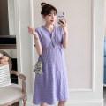 Dress Other / other violet , Taro purple M,L,XL,XXL Korean version Short sleeve Medium length summer V-neck Solid color polyester