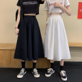 skirt Spring 2021 Average size White black Mid length dress commute High waist A-line skirt Solid color Type A 18-24 years old 81% (inclusive) - 90% (inclusive) brocade Xin Shiying polyester fiber Korean version Polyester 90% other 10% Pure e-commerce (online only)