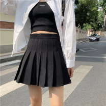 skirt Spring 2021 S M L XS XL Grey (small) black (small) Khaki (small) grey (regular) black (regular) Khaki (regular) Short skirt commute High waist Pleated skirt Solid color Type A 18-24 years old 81% (inclusive) - 90% (inclusive) Xin Shiying polyester fiber fold Korean version
