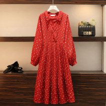 Women's large Spring 2021 gules Large XL, large 2XL, large 3XL, large 4XL, large 5XL Dress singleton  commute easy moderate Socket Long sleeves Korean version Polo collar polyester printing and dyeing other longuette