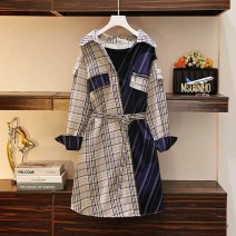 Women's large Autumn 2020 Picture color Big L, big XL, big M, under 100 kg, big 2XL, big 3XL, big 4XL Dress singleton  commute Self cultivation moderate Socket Long sleeves lattice Korean version Polo collar Polyester, others Three dimensional cutting shirt sleeve Medium length