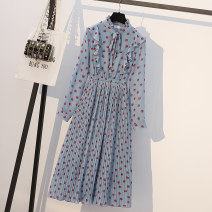 Women's large Spring 2021 Picture color Dress singleton  commute easy moderate Long sleeves Dot Korean version Crew neck polyester routine longuette