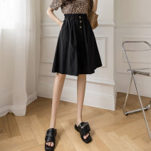 skirt Summer 2021 S M L XL Black army green Khaki Middle-skirt commute High waist A-line skirt Solid color Type A 1018-080 More than 95% Sand of the wind cotton pocket Korean version Cotton 98.7% polyurethane elastic fiber (spandex) 1.3% Pure e-commerce (online only)