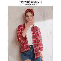 shirt Red yellow Navy 155/XS 160/S 165/M 170/L 175/XL Summer 2020 cotton 96% and above Long sleeves commute Regular Polo collar Single row multi button routine lattice 18-24 years old Straight cylinder Teenie Weenie Britain TTYC206303N1 pocket Cotton 100% pure cotton
