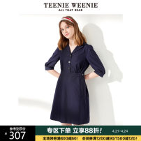 Dress Summer 2020 Khaki Navy 155/XS 160/S 165/M 170/L 175/XL Middle-skirt singleton  elbow sleeve commute V-neck middle-waisted Solid color Socket A-line skirt routine 18-24 years old Teenie Weenie Britain Pleated pocket button TTOW206306N1 51% (inclusive) - 70% (inclusive) cotton