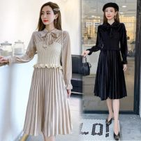 Dress Spring 2021 Apricot, black S,M,L,XL Miniskirt Fake two pieces Long sleeves commute High waist Socket A-line skirt Type A Other / other Korean version