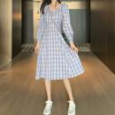 Dress Autumn 2020 Long, short S,M,L singleton  Long sleeves stand collar lattice Socket More than 95% polyester fiber