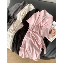Dress Summer 2021 Grey green dress, apricot dress, pink dress, black dress Average size Mid length dress singleton  Long sleeves commute Polo collar High waist Solid color Single breasted routine 18-24 years old Korean version Button FG214315 30% and below cotton