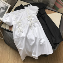 Dress Summer 2021 White dress, black dress S,M,L Mid length dress singleton  Short sleeve Sweet square neck High waist Solid color other Others 18-24 years old Type H Button 30% and below other other college