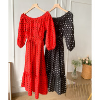 Dress Spring 2021 Black, red M, L longuette singleton  Short sleeve commute Crew neck Loose waist Broken flowers Socket other camisole 18-24 years old Type A Other / other Korean version SG710944 30% and below other