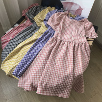 Dress Summer 2020 Yellow dress, purple dress, pink dress, black dress, red dress Average size Middle-skirt singleton  Short sleeve commute Crew neck Elastic waist lattice Socket A-line skirt routine 18-24 years old Other / other Korean version FG302589 30% and below other other