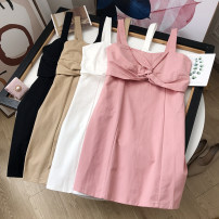 Dress Summer 2020 White dress, pink dress, black dress, khaki dress S,M,L Middle-skirt singleton  Sleeveless commute One word collar High waist Solid color Socket Big swing routine camisole 18-24 years old Type A Other / other FG411296 30% and below other other