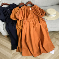 Dress Summer 2020 Royal blue dress, orange dress, orange dress, dark pink dress fg410694-2, orange dress fg410694-2, green dress fg410694-2, apricot dress fg410694-2, purple dress fg410694-2 Average size longuette singleton  Short sleeve commute Crew neck High waist Solid color puff sleeve Others