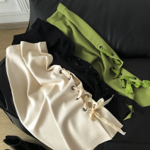 skirt Autumn 2020 Average size Apricot skirt, black skirt, green skirt commute High waist A-line skirt Solid color Type A 18-24 years old 30% and below Other / other Bandage Korean version