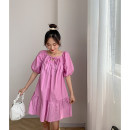 Dress Summer 2020 Orange dress, purple dress, white dress Average size Short skirt singleton  elbow sleeve commute square neck Loose waist Solid color Socket A-line skirt puff sleeve 18-24 years old Other / other Korean version FG704385 30% and below other