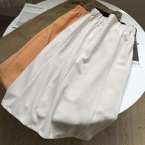 skirt Summer 2021 M, L Khaki, orange, apricot, black Mid length dress commute High waist skirt Solid color 18-24 years old FG159058 30% and below Other / other Korean version