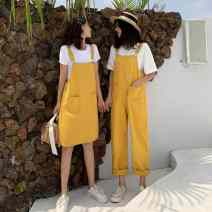 Dress Summer of 2019 Yellow trousers, black trousers, black skirt, yellow skirt M, L Short skirt singleton  Sleeveless commute One word collar High waist Solid color Socket A-line skirt other straps 18-24 years old Type A Ezrin Korean version X1pqW More than 95% Denim