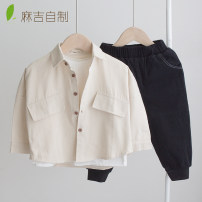 shirt Off white Other / other male 80cm,90cm,100cm,110cm,120cm,130cm,140cm spring and autumn Long sleeves Korean version Solid color cotton Lapel and pointed collar Cotton 90% other 10% Class A