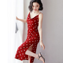 Dress Summer 2020 Black, red S,M,L,XL Mid length dress singleton  commute Pile collar middle-waisted Dot zipper camisole 25-29 years old Type A Korean version 1973 vines Chiffon