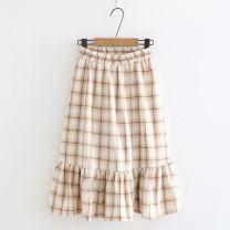 skirt Summer 2020 Average size Apricot lattice, coffee lattice, Navy lattice Mid length dress Sweet High waist Ruffle Skirt lattice Type A 18-24 years old 30% and below other other Mori