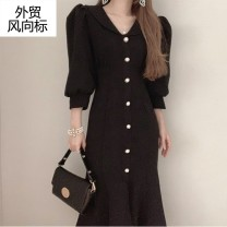 Dress Summer 2021 Black, apricot S,M,L longuette singleton  Long sleeves V-neck High waist Solid color Single breasted Ruffle Skirt puff sleeve Others 30-34 years old Other / other Collage / stitching 51% (inclusive) - 70% (inclusive) other other