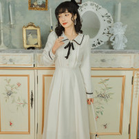Dress Winter 2020 Off white S,M,L Mid length dress singleton  Long sleeves commute other High waist Solid color Socket Pleated skirt 18-24 years old Type A Retro 71% (inclusive) - 80% (inclusive)