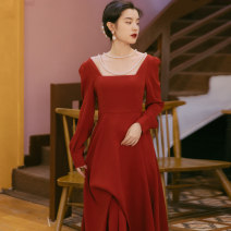 Dress Winter 2020 Red, black S,M,L longuette singleton  Long sleeves commute square neck High waist Solid color Socket A-line skirt routine 18-24 years old Type A Retro 71% (inclusive) - 80% (inclusive) polyester fiber