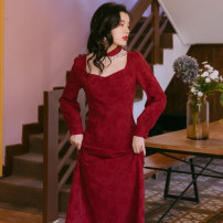 Dress Winter 2020 claret S,M,L Mid length dress singleton  Long sleeves commute square neck High waist Solid color Socket A-line skirt 18-24 years old Type A Retro 31% (inclusive) - 50% (inclusive)
