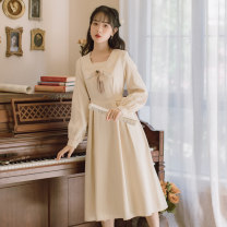 Dress Winter 2020 Apricot, pink S,M,L Mid length dress singleton  Long sleeves commute Crew neck High waist Solid color Socket A-line skirt other 18-24 years old Type A Retro bow 71% (inclusive) - 80% (inclusive)