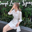 Dress Summer 2021 S,M,L,XL Short skirt singleton  three quarter sleeve commute High waist Solid color Single breasted A-line skirt Type A Korean version Pleating, asymmetry