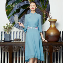 Dress Summer 2020 11 colors M L XL longuette singleton  three quarter sleeve commute stand collar middle-waisted Solid color other A-line skirt routine Others 35-39 years old Type A Retro More than 95% other silk Mulberry silk 100% Same model in shopping mall (sold online and offline)