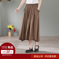 skirt Summer 2021 Average size Broken flower coffee, broken flower blue, broken flower grey, broken flower milk coffee Mid length dress Retro Natural waist A-line skirt Decor Type A 40-49 years old 81% (inclusive) - 90% (inclusive) other hemp Pocket, print, lace