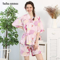 Pajamas / housewear set female tutuanna 160/84A 961950-05 (skirt) 961951-09 961951-44 961751-44 961952-09 961952-22 cotton Short sleeve Sweet pajamas summer Thin money V-neck Plants and flowers shorts Oblique lapel youth 2 pieces rubber string More than 95% pure cotton lace Cotton 100% Spring of 2019