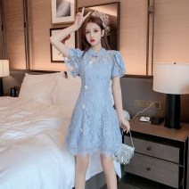 Dress Summer 2021 Light blue, white S,M,L,XL,2XL Short skirt singleton  Short sleeve commute stand collar High waist Solid color Socket A-line skirt Petal sleeve Others 18-24 years old Type A Korean version Cut out, button, lace X3.17 31% (inclusive) - 50% (inclusive) Lace polyester fiber